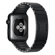 Браслет блочный из нержавеющей стали для Apple Watch 42/44 мм, чёрный цвет