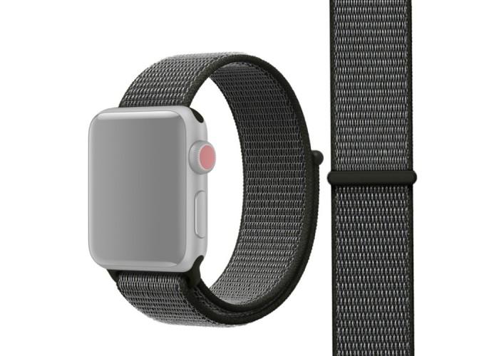 Ремешок из нейлона с застёжкой-липучкой для Apple Watch 42/44 мм, тёмно-серый цвет