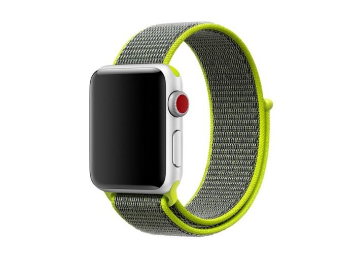Ремешок из нейлона с застёжкой-липучкой для Apple Watch 42/44 мм, салатовый цвет