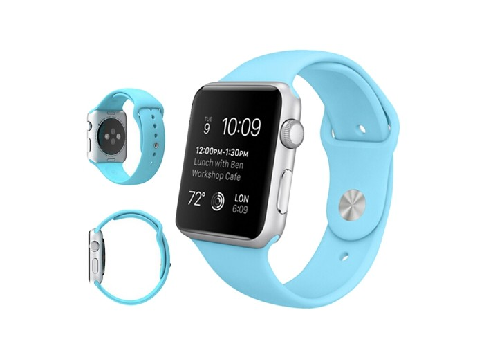 Ремешок спортивный для Apple Watch 42/44 мм, голубой цвет