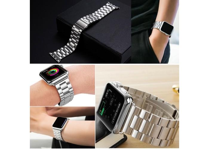 Браслет из нержавеющей стали для Apple Watch 42/44 мм, серебристый цвет