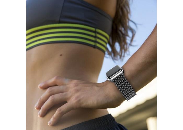 Браслет из нержавеющей стали рельефный для Apple Watch 42/44 мм, чёрный цвет