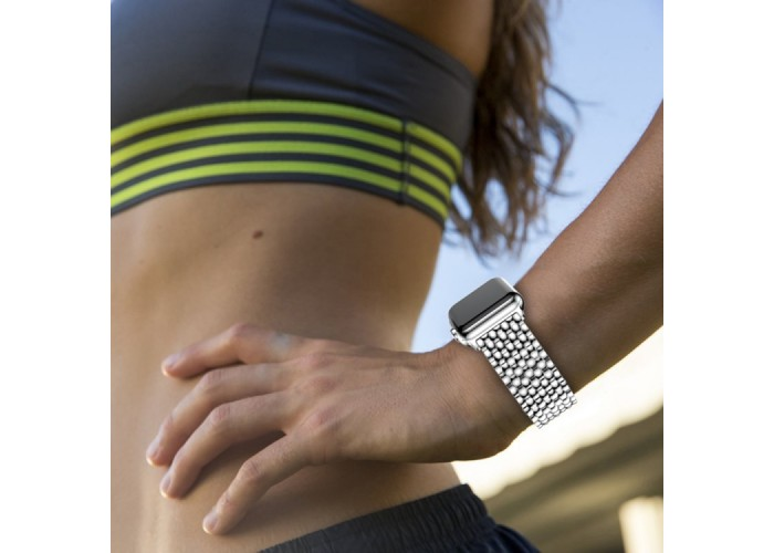 Браслет из нержавеющей стали рельефный для Apple Watch 38/40 мм, серебристый цвет