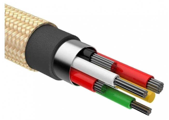 Кабель Baseus Shining Cable With Jet Metal USB - Lightning, золотистый цвет