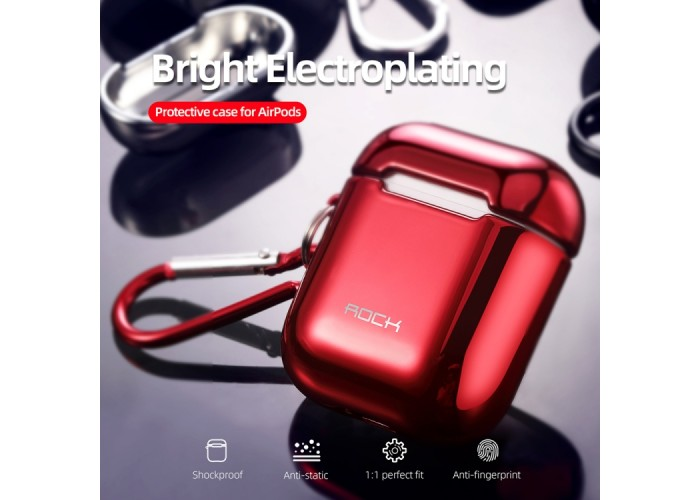 Чехол Rock Elecroplating Protective Case для AirPods 1/2, красный цвет