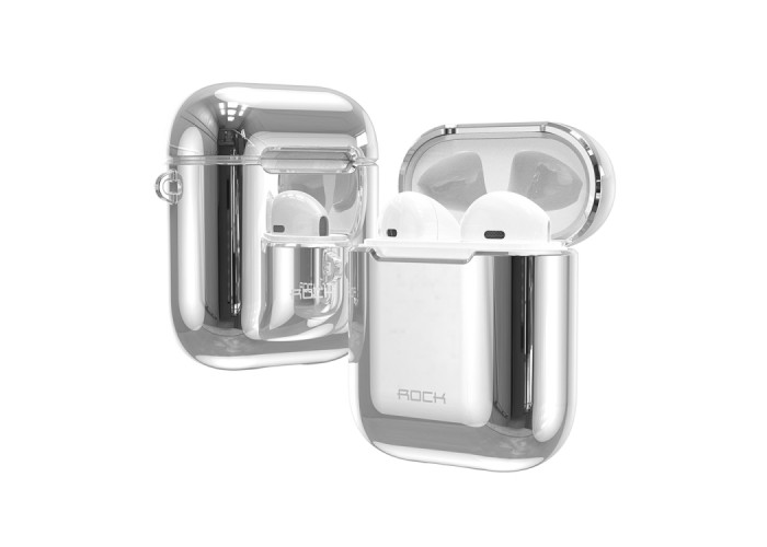 Чехол Rock Elecroplating Protective Case для AirPods 1/2, серебристый цвет