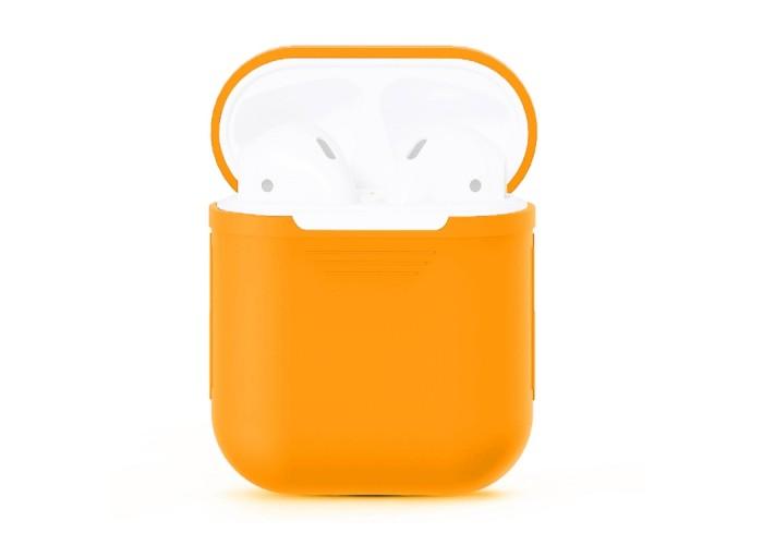 Чехол силиконовый для AirPods 1/2, оранжевый цвет