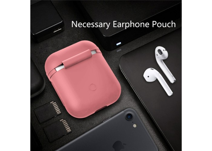 Чехол силиконовый для AirPods 1/2, розовый цвет