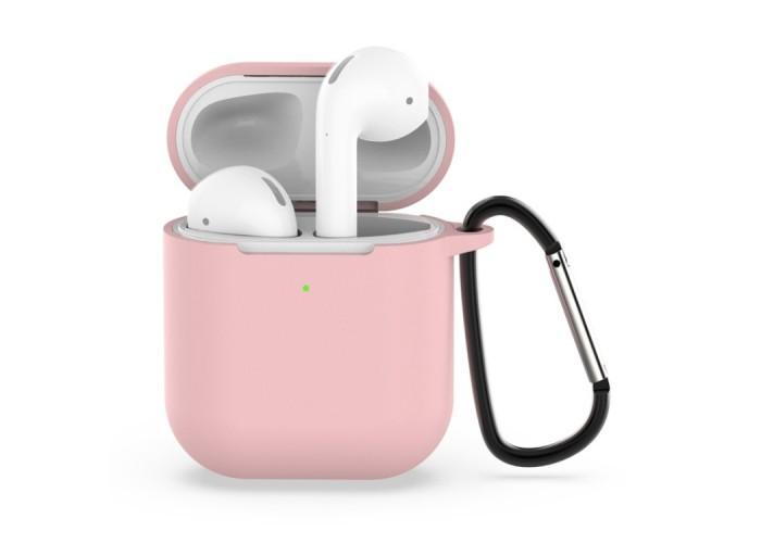Чехол силиконовый с карабином для AirPods 1/2, светло-розовый цвет