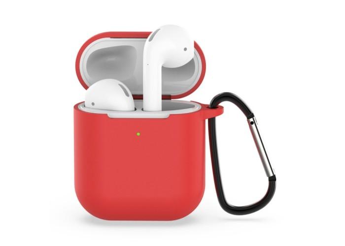 Чехол силиконовый с карабином для AirPods 1/2, красный цвет
