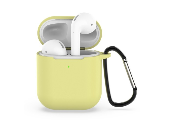Чехол силиконовый с карабином для AirPods 1/2, жёлтый цвет
