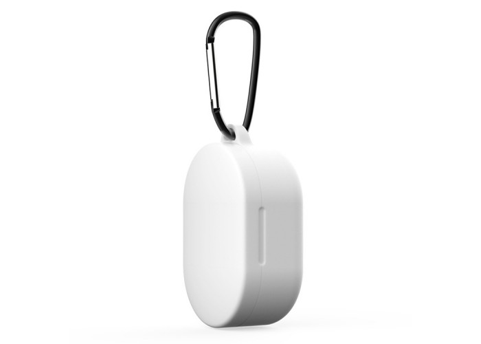 Чехол силиконовый с карабином для Redmi AirDots и Xiaomi AirDots Youth Edition, белый цвет