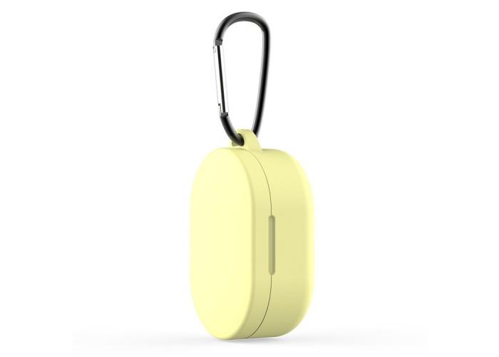 Чехол силиконовый с карабином для Redmi AirDots и Xiaomi AirDots Youth Edition, жёлтый цвет