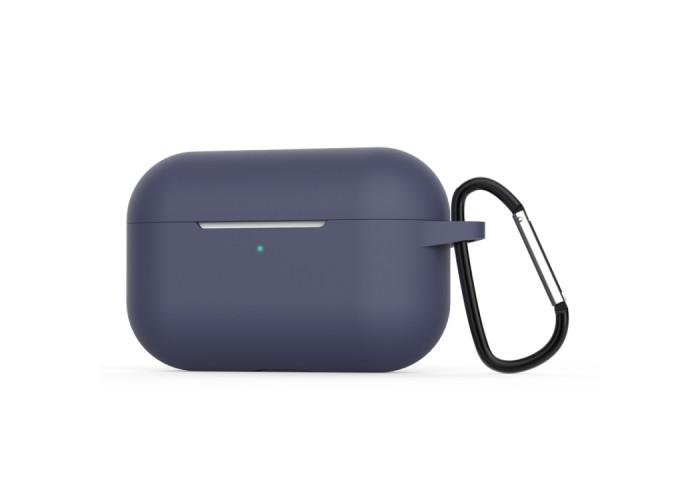 Чехол силиконовый с карабином для AirPods Pro, тёмно-синий цвет