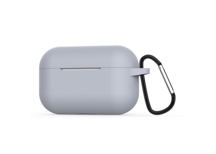 Чехол силиконовый с карабином для AirPods Pro, серый цвет