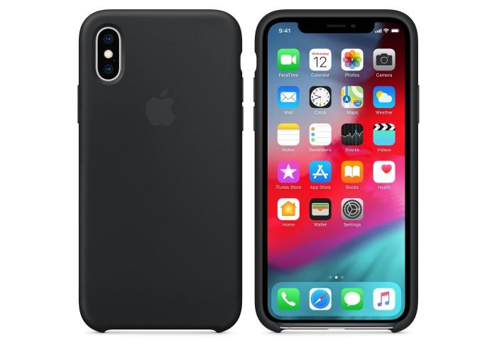 Чехол силиконовый Silicone Case для iPhone XS, чёрный цвет