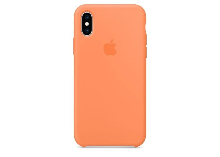Чехол силиконовый Silicone Case для iPhone XS, цвет «свежая папайя»