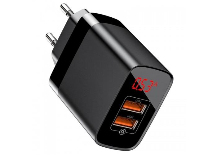 Сетевое зарядное устройство Baseus Mirror Lake Dual QC Digital Display Quick Charger A+A