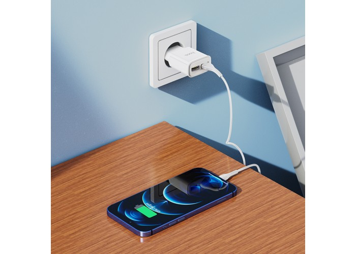 Сетевое зарядное устройство Hoco C88A Dual USB-A 2.4A, белый цвет