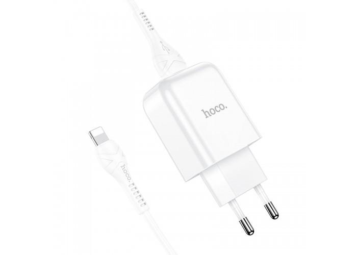 Сетевое зарядное устройство с кабелем USB-A/Lightning Hoco N2 USB-A 2.1A, белый цвет