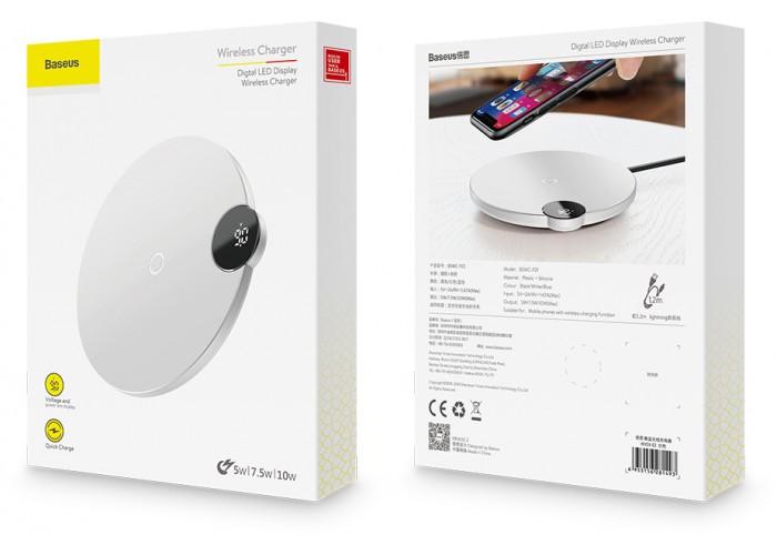 Беспроводная сетевая зарядка Baseus Digital LED Display Wireless Charger, белый цвет