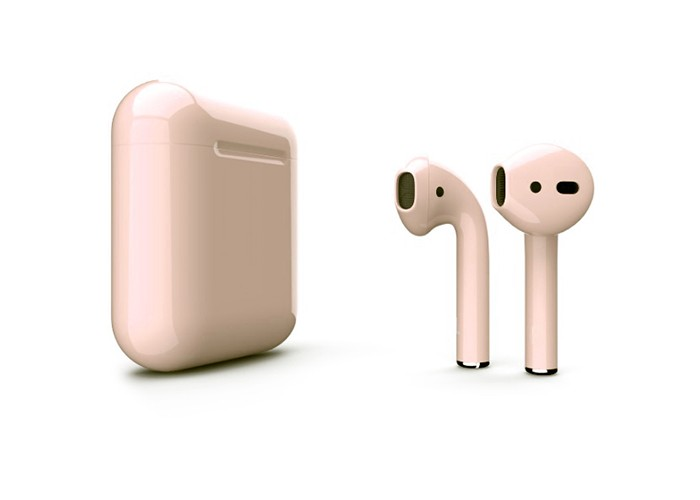 Apple AirPods 2 Color (беспроводная зарядка чехла), глянцевый бежевый цвет