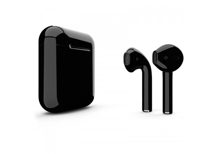 Apple AirPods 2 Color (беспроводная зарядка чехла), глянцевый чёрный цвет