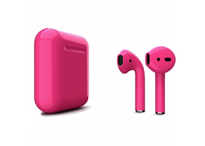Apple AirPods 2 Color (без беспроводной зарядки чехла), глянцевый тёмно-розовый цвет