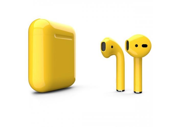 Apple AirPods 2 Color (беспроводная зарядка чехла), глянцевый жёлтый цвет