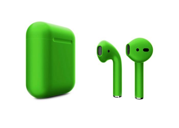 Apple AirPods 2 Color (беспроводная зарядка чехла), матовый зелёный цвет