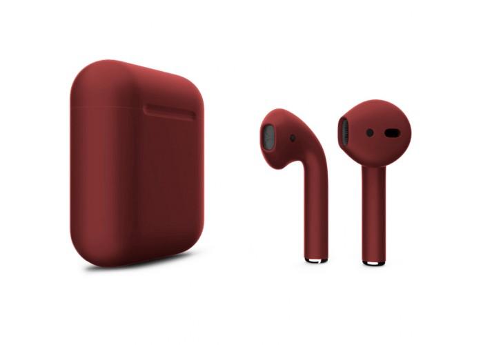 Apple AirPods 2 Color (без беспроводной зарядки чехла), матовый бордовый цвет