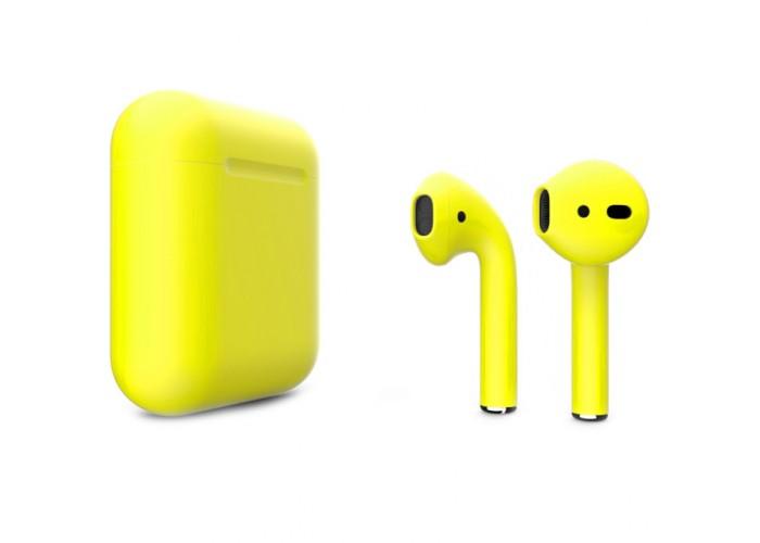 Apple AirPods 2 Color (беспроводная зарядка чехла), матовый жёлтый цвет