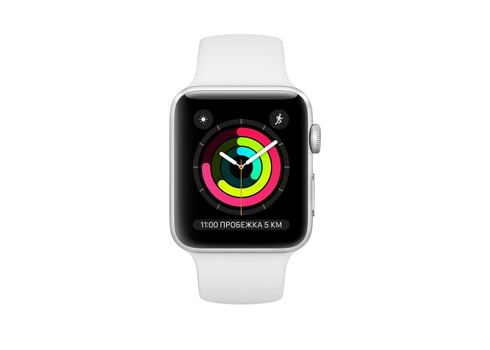 Apple Watch Series 3 GPS, 38 мм, алюминий серебристого цвета, спортивный ремешок белого цвета