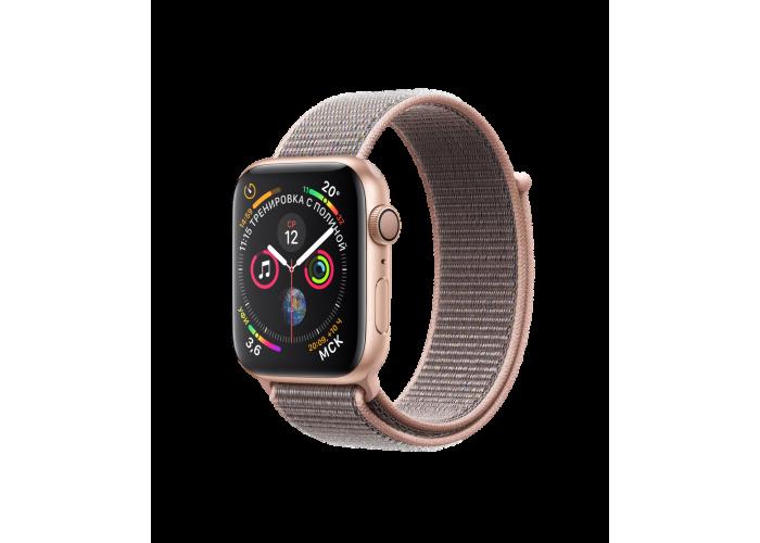 Apple Watch Series 4, 44 мм, корпус из алюминия золотого цвета, спортивный браслет цвета «розовый песок»