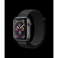 Apple Watch Series 4, 44 мм, корпус из алюминия цвета «серый космос», спортивный браслет чёрного цвета