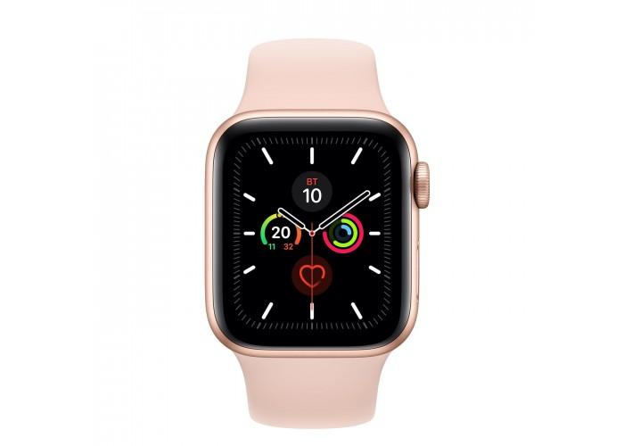 Apple Watch Series 5, 40 мм, корпус из алюминия золотого цвета, спортивный ремешок цвета «розовый песок»