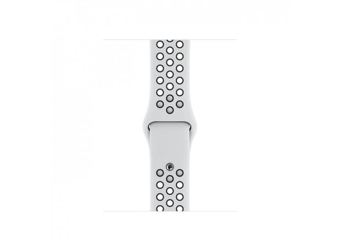 Apple Watch Nike Series 5, 40 мм, корпус из алюминия серебристого цвета, спортивный ремешок Nike цвета «чистая платина/чёрный»
