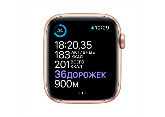 Apple Watch Series 6, 44 мм, корпус из алюминия золотого цвета, спортивный ремешок