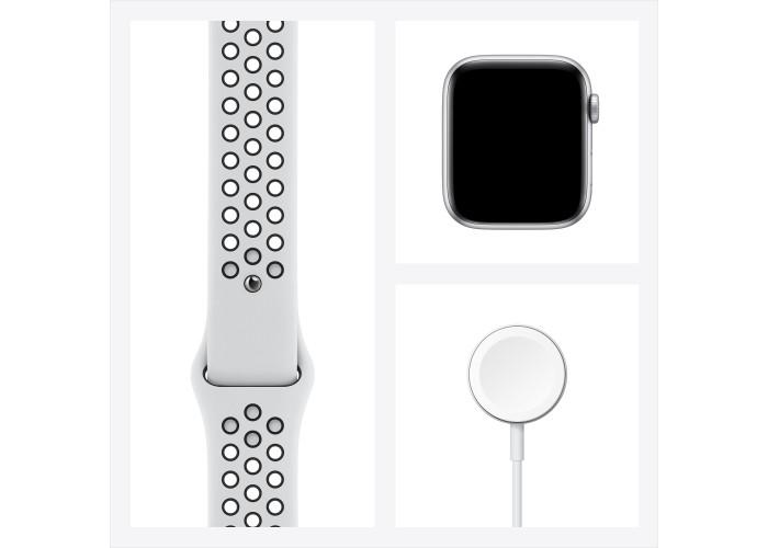 Apple Watch Nike SE, 44 мм, корпус из алюминия серебристого цвета, спортивный ремешок Nike