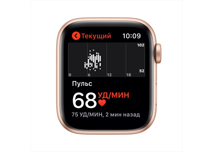 Apple Watch SE, 44 мм, корпус из алюминия золотого цвета, спортивный ремешок