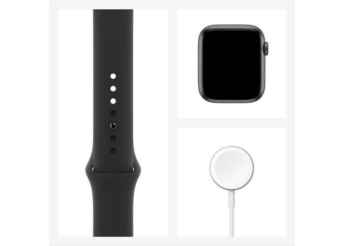 Apple Watch SE, 44 мм, корпус из алюминия цвета «серый космос», спортивный ремешок