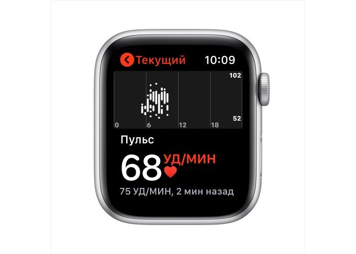 Apple Watch SE, 44 мм, корпус из алюминия серебристого цвета, спортивный ремешок