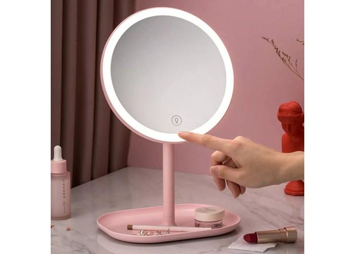 Зеркало косметическое настольное Xiaomi Jordan Judy LED Makeup Mirror с подсветкой, розовый