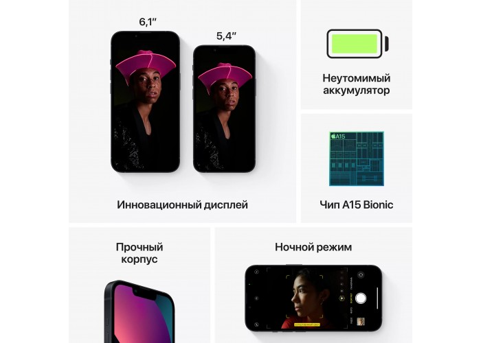 iPhone 13 (2 SIM) 128 ГБ «Тёмная ночь»
